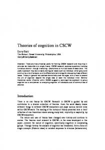 Theories of cognition in CSCW - Gerry Stahl