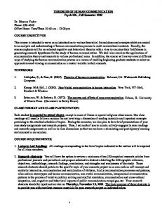 THEORIES OF HUMAN COMMUNICATION Psych 236 , Fall ...