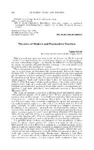 Theories of Modern and Postmodern Tourism