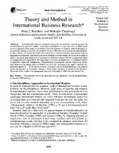 Theory and Method in International Business Research - Science Direct
