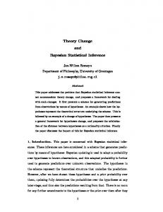 Theory Change and Bayesian Statistical Inference - Semantic Scholar