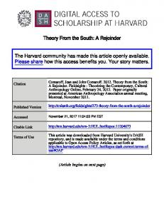 Theory From the South: A Rejoinder The Harvard ... - DASH