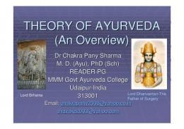 THEORY OF AYURVEDA (An Overview)