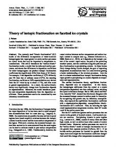 Theory of isotopic fractionation on facetted ice ... - Atmos. Chem. Phys