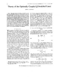 Theory of the optimally coupled Q-switched laser - IEEE Xplore