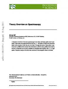 Theory Overview on Spectroscopy