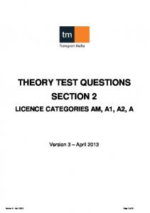 THEORY TEST QUESTIONS SECTION 2