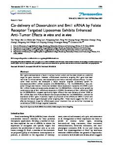 Theranostics Co-delivery of Doxorubicin and Bmi1 siRNA by Folate ...