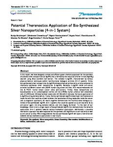 Theranostics Potential Theranostics Application of Bio-Synthesized ...