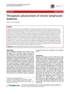 Therapeutic advancement of chronic lymphocytic