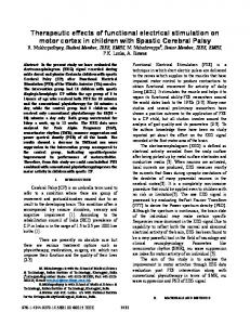 Therapeutic Effects of Functional Electrical Stimulation ... - IEEE Xplore