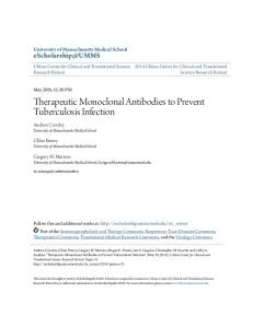 Therapeutic Monoclonal Antibodies to Prevent Tuberculosis Infection
