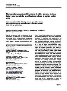 Therapeutic paracetamol treatment in older persons induces dietary ...