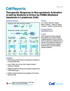 Therapeutic Response to Non-genotoxic Activation of p53 ... - Cell Press