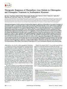 Therapeutic Responses of Plasmodium vivax Malaria to Chloroquine ...