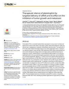 Therapeutic silence of pleiotrophin by targeted delivery of siRNA and ...