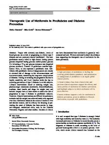 Therapeutic Use of Metformin in Prediabetes and ... - Springer Link