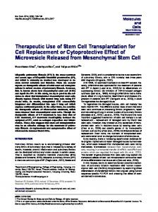 Therapeutic Use of Stem Cell Transplantation for Cell Replacement or ...