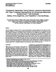 Therapeutic Vaccination Using Cationic Liposome-Adjuvanted HIV ...