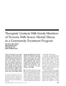 Therapists' Contacts With Family Members of Persons With Severe ...