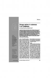 Therapy options in cutaneous T-cell lymphoma