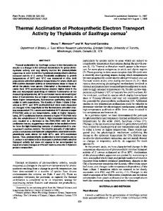 Thermal Acclimation of Photosynthetic Electron Transport ... - NCBI