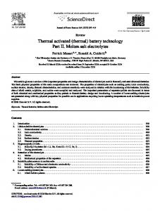 Thermal activated (thermal) battery technology Part II