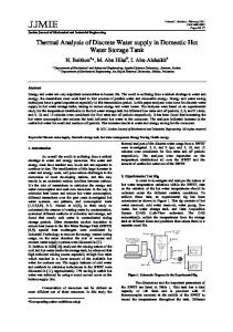 Thermal Analysis of Discrete Water supply in Domestic Hot Water ...