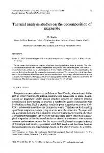 Thermal analysis studies on the decomposition of ...