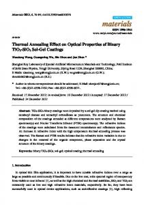 Thermal Annealing Effect on Optical Properties of Binary TiO2 ... - MDPI