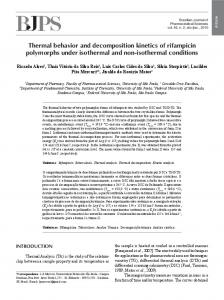 Thermal behavior and decomposition kinetics of rifampicin ... - SciELO