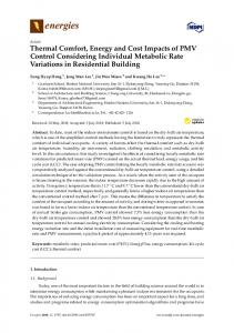 Thermal Comfort, Energy and Cost Impacts of PMV Control ... - MDPI