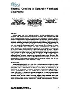 Thermal Comfort in Naturally Ventilated Classrooms - PLEA2014