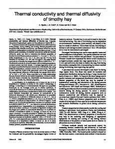 Thermal conductivity and thermal diffusivity of timothy hay - CiteSeerX