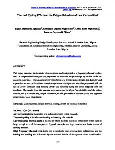 Thermal Cycling Effects on the Fatigue Behaviour of Low ... - CiteSeerX