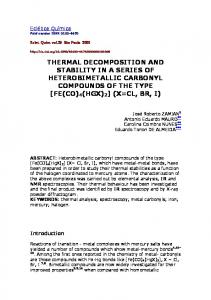 thermal decomposition and stability in a series of