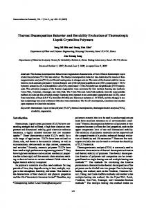 Thermal Decomposition Behavior and Durability ...