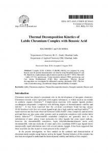Thermal Decomposition Kinetics of Labile Chromium Complex with