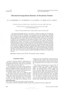 Thermal decomposition kinetics of strontium oxalate