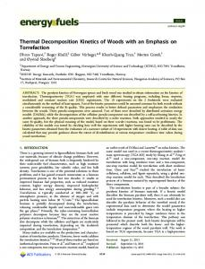 Thermal Decomposition Kinetics of Woods with an Emphasis on ...