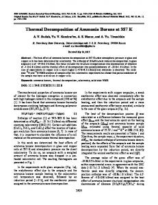 Thermal Decomposition of Ammonia Borane at 357 K - Springer Link