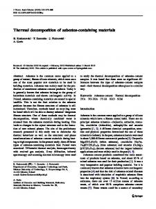 Thermal decomposition of asbestos-containing materials - Springer Link