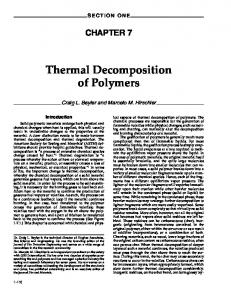 Thermal Decomposition of Polymers