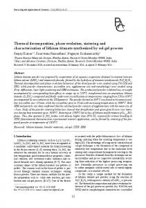 Thermal decomposition, phase evolution, sintering and ...