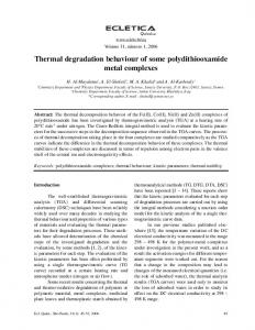 Thermal degradation behaviour of some polydithiooxamide metal ...