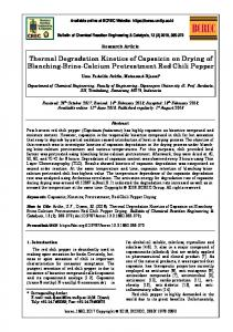 Thermal Degradation Kinetics of Capsaicin on Drying of Blanching ...
