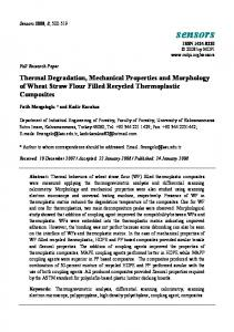 Thermal Degradation, Mechanical Properties and Morphology ... - MDPI