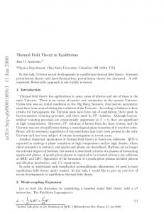 Thermal Field Theory in Equilibrium