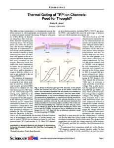 Thermal Gating of TRP Ion Channels: Food for ... - Semantic Scholar