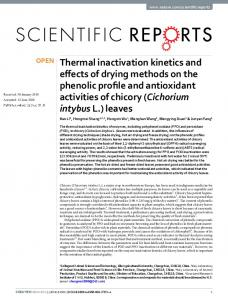 Thermal inactivation kinetics and effects of drying ...